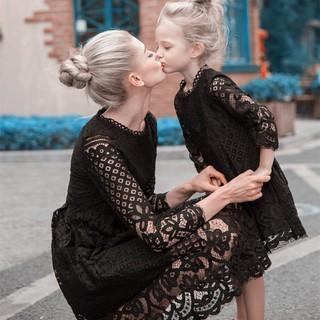 歐美親子裝蕾絲裙新款時尚純色禮服母女裝女童連衣公主裙潮