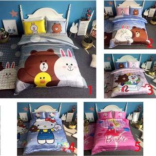 夏季『冰絲+純棉』鬆緊帶單人床包雙人床包四件套/冰冰涼涼的床罩組/熊大/芭比/凱蒂貓