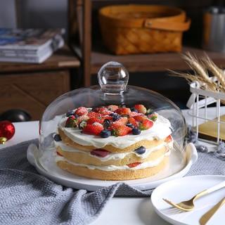 新品折扣-北歐陶瓷蛋糕盤玻璃蓋點心麵包罩水果甜品臺託盤展示架試吃盤帶蓋