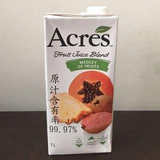 Costco好市多代購 Acres 綜合果汁飲料 綜合果汁 每瓶1公升 原汁99.97% 果汁