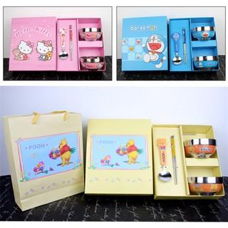 小熊維尼 kitty 多啦A夢 卡通兒童餐具碗筷組 不鏽鋼 湯匙 筷子 卡通餐具套裝 環保餐具 禮盒組 交換禮物