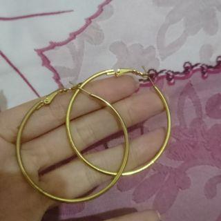 全新 大圈耳環 金色