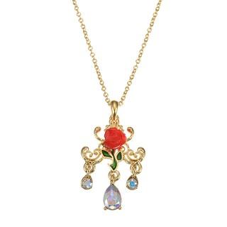 *FollowV*日本Disney迪士尼商店《預購》美女與野獸 貝兒公主 立體紅玫瑰 水滴 施華洛世奇水晶 項鍊 韓國製
