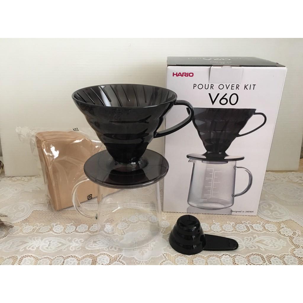 花媽  HARIO~V60黑色樹脂濾杯咖啡壺組1~2杯 ESD~02TB~EX~M  50
