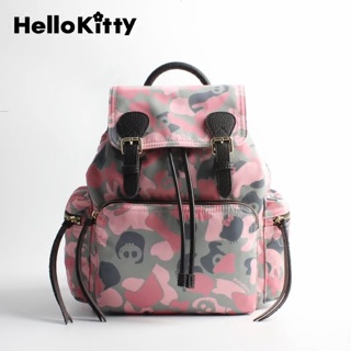 Hello Kitty 正品迷彩雙肩布包後背包迷彩粉迷彩藍2色