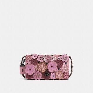 COACH 專櫃款38197 TEA ROSE DINKY 煙燻玫瑰色,水洗玫瑰色,黑色玫瑰立體貼花皮革肩背斜背包