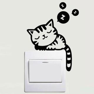 可移除牆貼開關貼 卡通熊隨手關燈 創意DIY 牆壁貼紙 開關貼