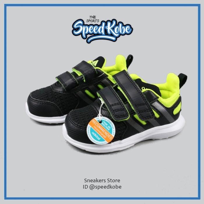 ☆SP☆ ADIDAS hyperfast 2.0 慢跑鞋 黑螢光綠 輕量 魔鬼氈 黏帶 小朋友 B23845