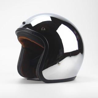 現貨 四季男女哈雷摩托車復古頭盔鏡面反光電鍍銀半盔個性酷機車安全帽