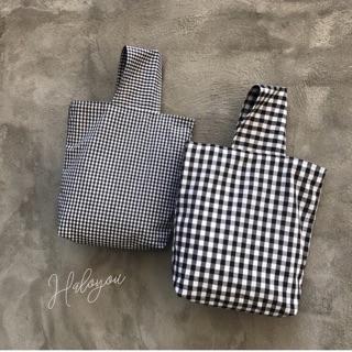 預購 格紋麻布手提袋 帆布材質  帆布手提袋 格紋