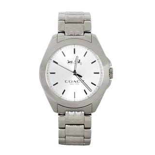 現貨 盒裝 COACH TRISTEN簡約銀色C Logo鍊帶石英不鏽鋼腕錶/28mm