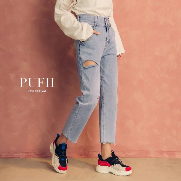 《現貨》PUFII-牛仔褲 雙釦高腰不對稱割破丹寧牛仔褲長褲-0830 秋【CP15068】