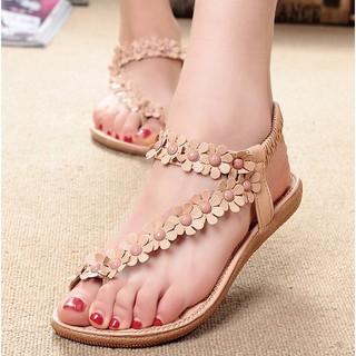 波西米亞涼鞋女鞋夾腳 夾趾花朵平底鞋子