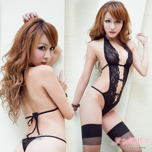 性感內衣 黑色蕾絲高叉連身衣 裸背綁帶半透明深V爆乳誘惑情趣睡衣-愛衣朵拉W5071