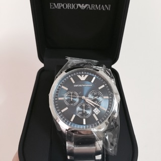 《Emporio Armani》實拍經典時尚藍色銀鋼腕錶 AR2448 保證真品,假一賠十