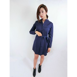 藍色直條連身裙