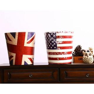 創意復古家用皮革大垃圾桶美國英國國旗時尚客廳臥室垃圾筒   3575c