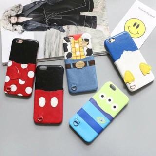 IPhone 手機殼 三眼怪 米奇 米妮 唐老鴨 胡迪 手機殼 多功能 可插卡 插卡卡通手機殼