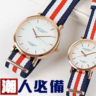 潮流 款 帆布大鏡面情侶對錶男錶女錶對錶
