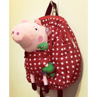 紅色佩佩豬喬治後背包