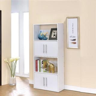 生活大發現~DIY-北歐二代四層雙門展示架/E1環保材質/隔間櫃/書櫃/書架/高低櫃
