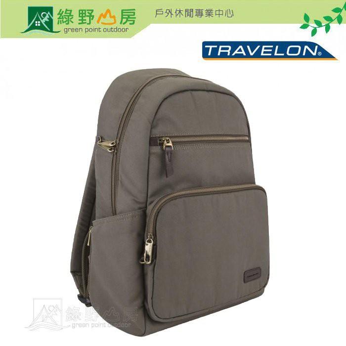 綠野山房》Travelon 美國 RFID COURIER 防盜後背包 防搶 出國 旅行 旅遊 石灰 TL-33307