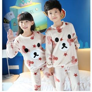 珊瑚絨兒童睡衣冬季加厚款男童法蘭絨男孩女孩家居服