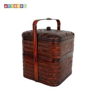 DecoBox禮贈品正方形雙層謝籃(1組)(野餐明.祭祖.提籃.傳統竹謝籃)