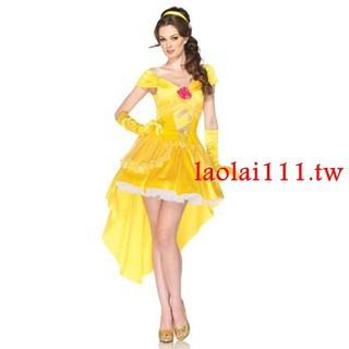 新款童話故事黃色貝兒公主服裝歐美出口分碼公主裝派對舞臺演出服