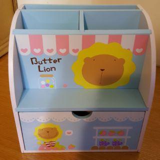全新 木製 奶油獅 收納盒