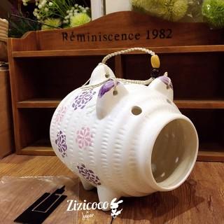 日本預購小豬蚊香盒陶瓷蚊香架可掛式 3款 玫瑰薰衣草檸檬綠葉