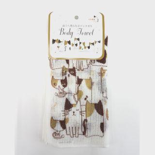 貓咪圖案 洗澡巾 發泡沐浴巾 沐浴刷巾 刷背巾 日本製