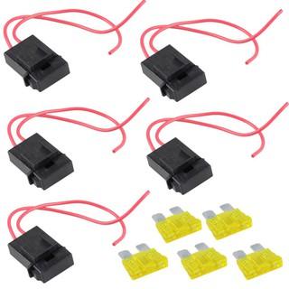 5包20A量規ATC保險絲座直插AWG線Coppe12V電源刀片