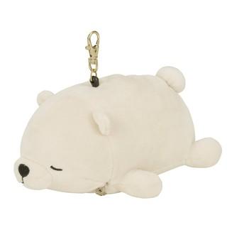 現貨 日本 北極熊伸縮彈力線證件套吊飾  彈力超柔趴姿  BABY 療癒 白熊絨毛證件套吊飾 趴睡