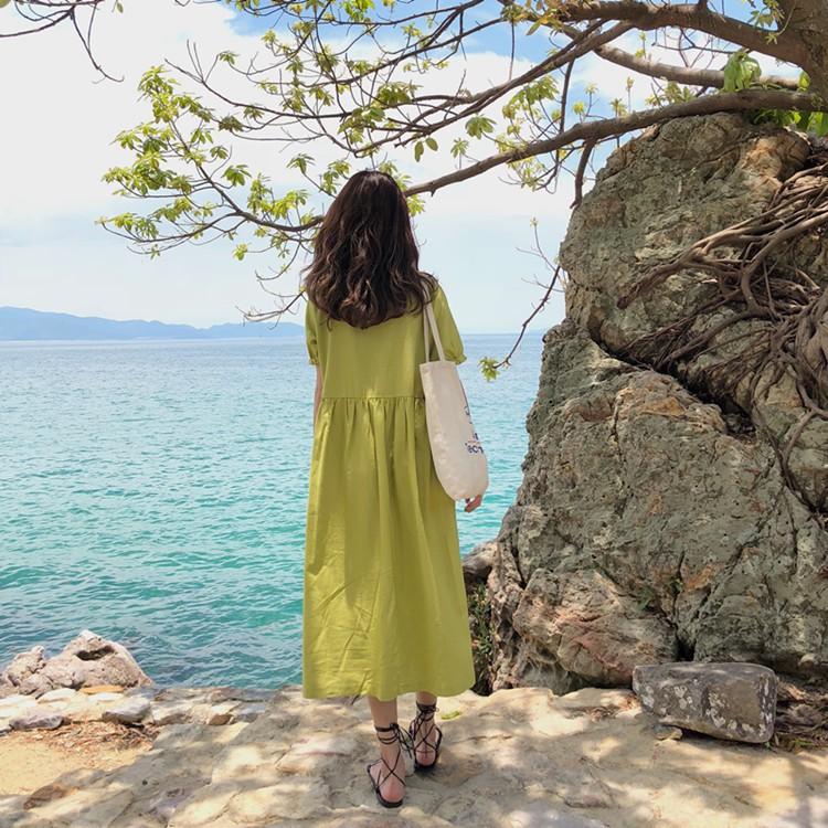復古超仙連衣裙polo領單排扣裙子純色A字襯衫長裙潮連衣裙