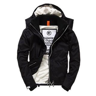 美國百分百【全新真品】Superdry 極度乾燥 風衣 連帽 外套 防風 夾克 刷毛 保暖 黑色 白色 F853