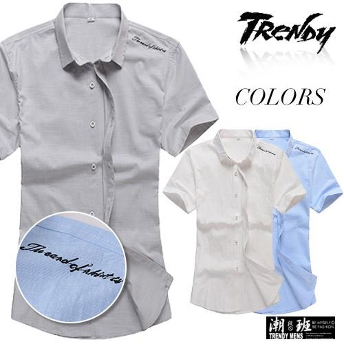 『TRENDY』L-XL素面肩膀英文刺繡短袖襯衫【SD032199】