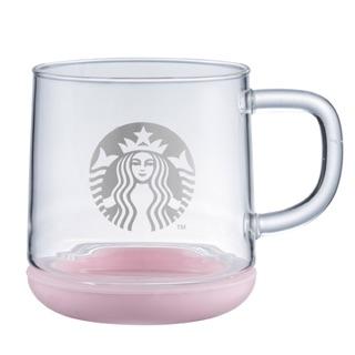 星巴克 粉紅矽膠把手玻璃杯 Starbucks 粉紅色 星巴克玻璃 把手玻璃