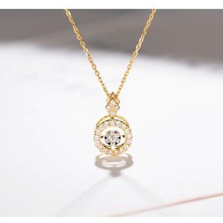 寶石礦工靈動系列 18k黃金會跳舞的鑽石吊墜 群鑲顯大鑽石項鍊