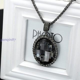 橢圓鑲黑寶石項鏈 韓國時尚復古長款毛衣鏈長項鏈女 廠家批發