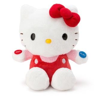 日本三麗鷗Hellokitty凱蒂貓絨毛經典坐姿錄音娃娃玩偶的