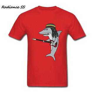 現貨 新款歐美風格男士圓領短袖T恤 雷鬼鯊的圖案 純棉T恤 復古時尚透氣運動T恤男 學生T恤 青少年T恤 紅色