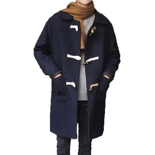 【衣人格爆款】 男士牛角扣毛呢大衣男中長款風衣 修身潮流男裝毛呢料英倫大衣長版外套大 素面