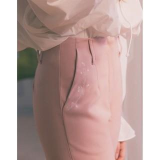 PAZZO 愛麗絲 刺繡蜜桃絨西裝褲 附吊牌
