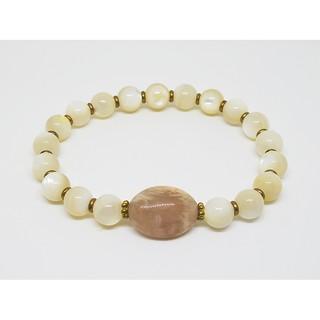 天然石 日長石 太陽石 日光石 / 黃銅手鍊 彈性手鍊