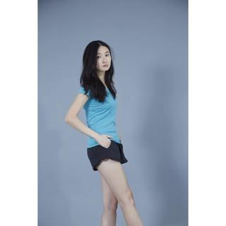 [現貨] 自訂款純棉有彈性V領短袖T恤女簡約條紋顯瘦