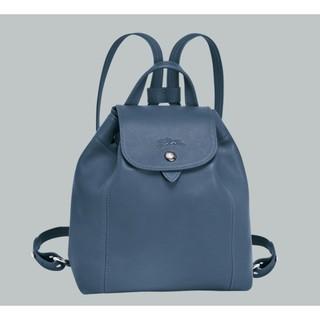 LONGCHAMP 法國製 Le Pliage Cuir 小羊皮 兩用後背包 XS 機師藍色 購於專櫃