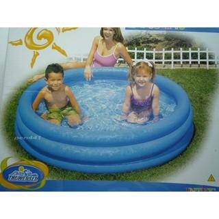 玩樂 美國INTEX 藍色三層充氣游泳池兒童戲水池幼兒夏天玩水池嬰兒遊戲球池