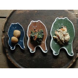 kata kata 倉敷意匠 KATA KATA 印判手中皿(綠)  印判手中皿(棕)  熊
