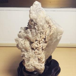 天然骨幹水晶 礦石 水晶 含座 鱷魚骨幹 天然美